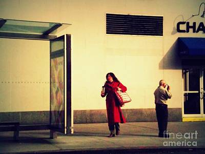 Photograph - Waiting For The Bus - New York City Street Scene by Miriam Danar
