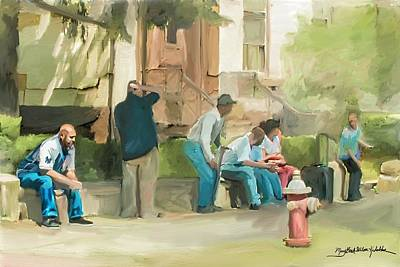 Digital Art - Waiting for the Noon Bus by Mary Beth D'Aloia