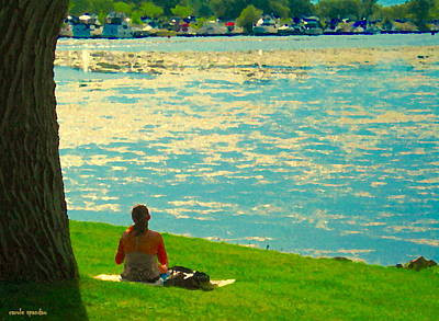 Sunday Picnic Painting - Waiting  For The Sailboats To Stop By Sundays On Lachine Canal Montreal Summer Scenes Carole Spandau by Carole Spandau