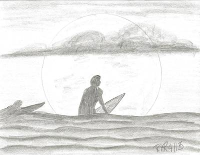 Surfing Drawing - Waiting For The Set by Ray Ratzlaff