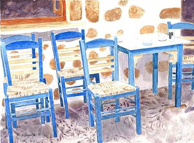 Empty Chairs Painting - Waiting For Tourists - Patmos by Ralph Kingery