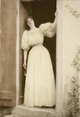 Artwork Drawing - Waiting, From Lestampe Moderne by Louis Joseph Raphael Collin