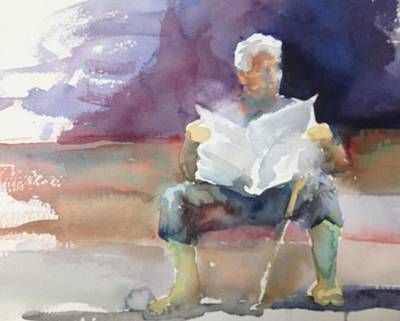 Painting - Waiting In Barcelona by J Worthington Watercolors