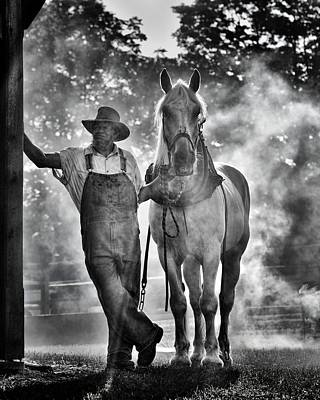 Draft Horses Photograph - Waiting In Late Afternoon Smoke by Don Schroder