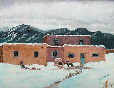 Waiting In Taos Art Print by Mary Anne Civiok