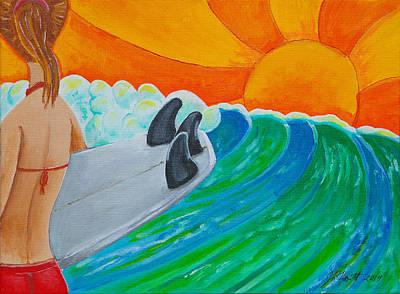 Surfing Art Drawing - Waiting by Jason Honeycutt