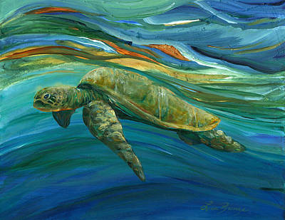 Honu Painting - Waiting by Lisa Bunge