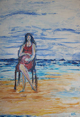 Waiting On The Beach Art Print by Kathy Peltomaa Lewis