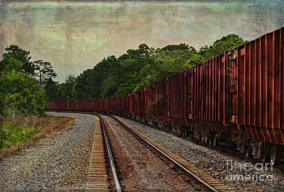 Transport Mixed Media - Waiting On The Tracks by Deborah Benoit