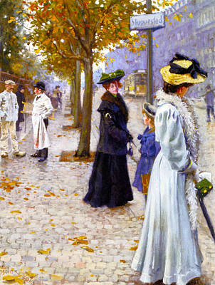 Photograph - Waiting On The Tram by Paul Gustav Fischer