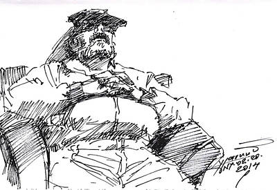 Waiting Room Painting - Waiting Room Nap Sketch by Ylli Haruni