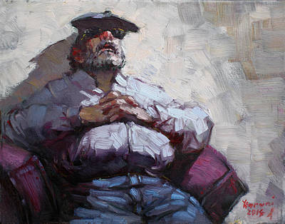 Coaching Painting - Waiting Room Nap by Ylli Haruni