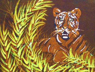 Tapestry - Textile - Waiting Tiger by Kay Shaffer