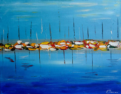 Painting - Waiting To Sail Abstract Seascape by Eliza Donovan