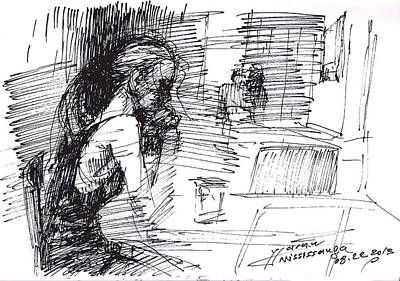 Waiting Girl Drawing - Waiting by Ylli Haruni