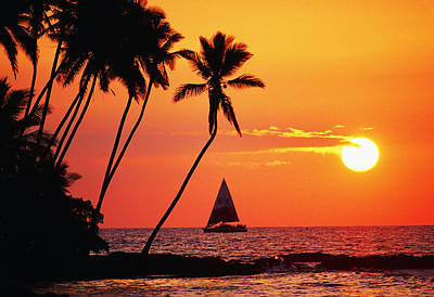 Photograph - Waiulua Bay Orange Sunset by Bob Abraham - Printscapes