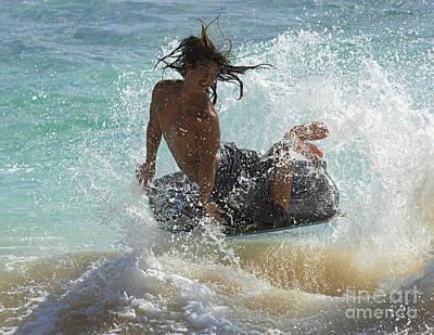Wake Boarder Hawaii Art Print by Bob Christopher