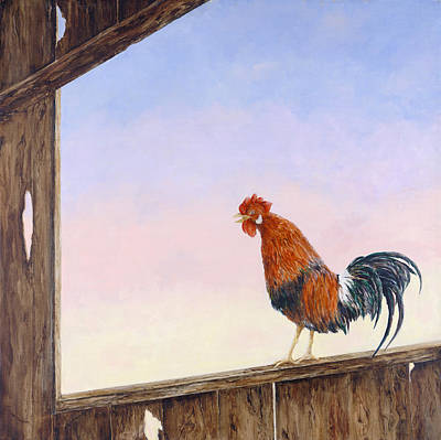 Big Rooster Painting - Wake Up Call by Dorothea Hyde