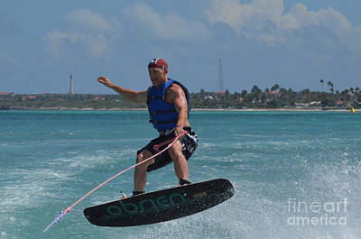Wakeboarder Photograph - Wakeboarder Doing A 180 by DejaVu Designs