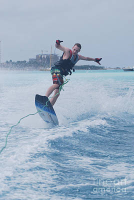 Wakeboarder Photograph - Wakeboarder Letting Go by DejaVu Designs