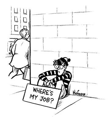 Beggars Drawing - Waldo From Where's Waldo? Sits On The Street by Kaamran Hafeez