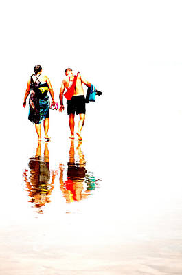 Walk Along The Beach Art Print by Andy Fung