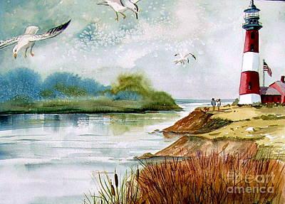 Walk Along The Shore Art Print by Marilyn Smith