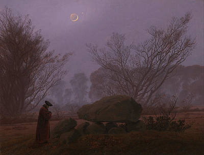Megalith Painting - Walk At Dusk by Caspar David Friedrich
