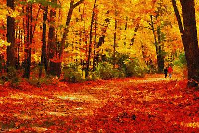 Walk In An Autumn Park Art Print