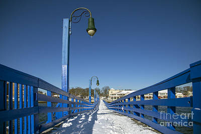 Snow . Bridge Photograph - Walk In The Blue Light by Evelina Kremsdorf