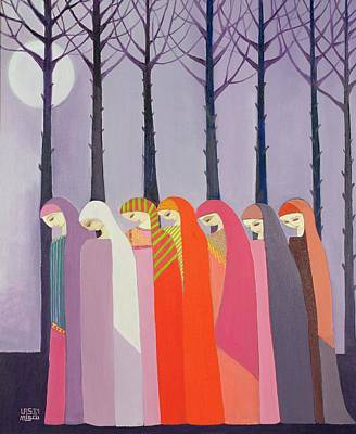 Headdresses Photograph - Walk In The Park, 1989 Acrylic On Canvas by Laila Shawa
