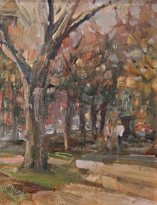 Comm Ave Painting - Walk In The Park by Bruce Jones