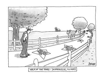 Walk Of The Stars: Jasperville Art Print by Jack Ziegler