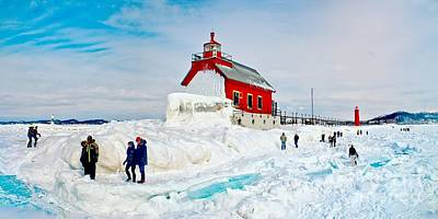 Photograph - Walk On The Ice In Grand Haven by Nick Zelinsky