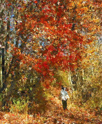 Autumn Trees Mixed Media - Walk On The Wild Side by Georgiana Romanovna