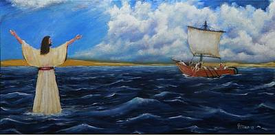 Christ Walking On Water Painting - Walk On Water by James Miller