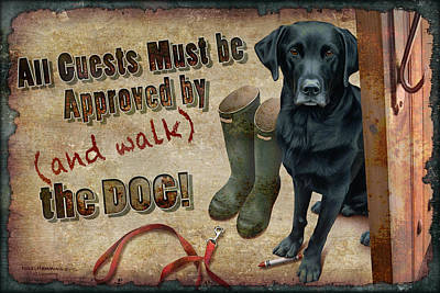 Entryway Painting - Walk The Dog by JQ Licensing