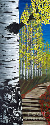 Painting - Walk Through Aspens Triptych 1 by Rebecca Parker
