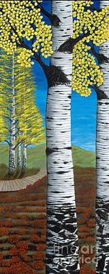 Painting - Walk Through Aspens Triptych 3 by Rebecca Parker