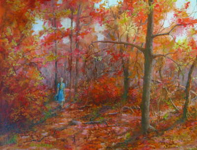 Painting - Walk Through Indian Summer by Elizabeth Crabtree