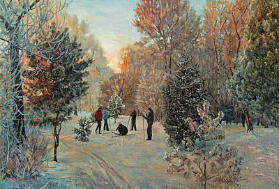 Walk To Skiing In The Winter Park Art Print
