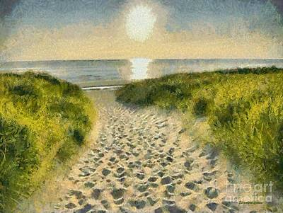 Sunrise Over Water Painting - Walk To The Beach by Elizabeth Coats