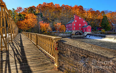 Walk With Me - Clinton Red Mill House In The Fall Art Print by Lee Dos Santos