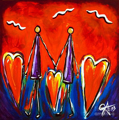 Twin Flame Painting - Walk With Me by Jackie Carpenter