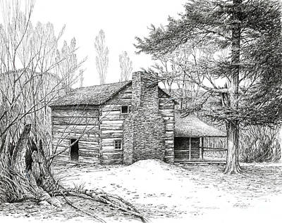 Art Print featuring the drawing Walker Sisters' Farm House by Bob  George
