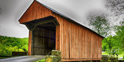 Music Royalty-Free and Rights-Managed Images - Walkersville Covered Bridge HDR by Thomas R Fletcher