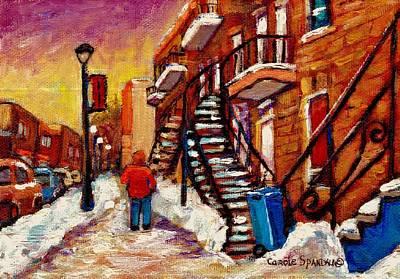 Walking Along Wellington Street Verdun Winter Painting Montreal City Scene By Carole Spandau Art Print by Carole Spandau