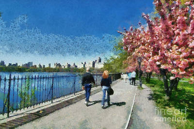 Water Painting - Walking Around Reservoir In Central Park by George Atsametakis