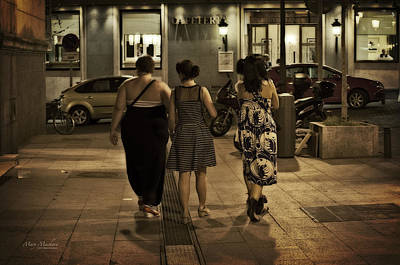 Walking At Night - Madrid Spain Print by Mary Machare