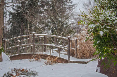 Photograph - Walking Bridge During Winter Snowfall At Sayen Gardens by Beth Sawickie